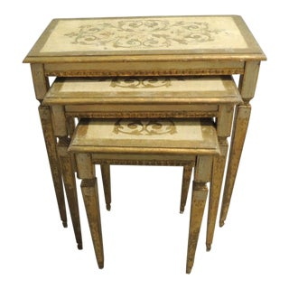 Set of Three Vintage Florentine Gold Leaf Nesting Tables For Sale