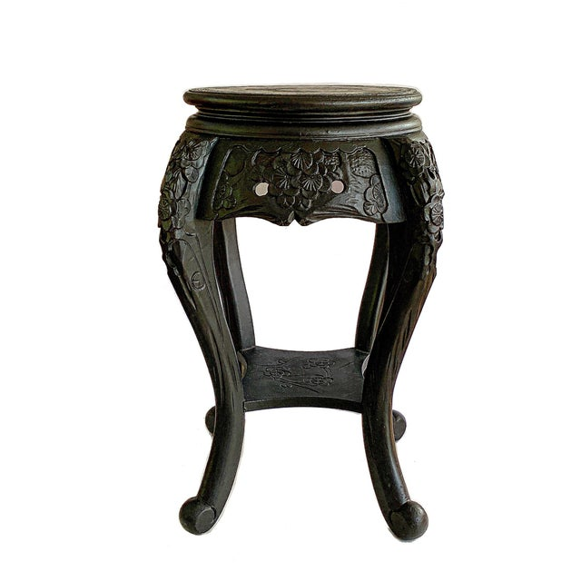 Vintage round Asian Chinese Qing Style planter / jardiniere / holder / table / stand. Antique style with carved wood,...