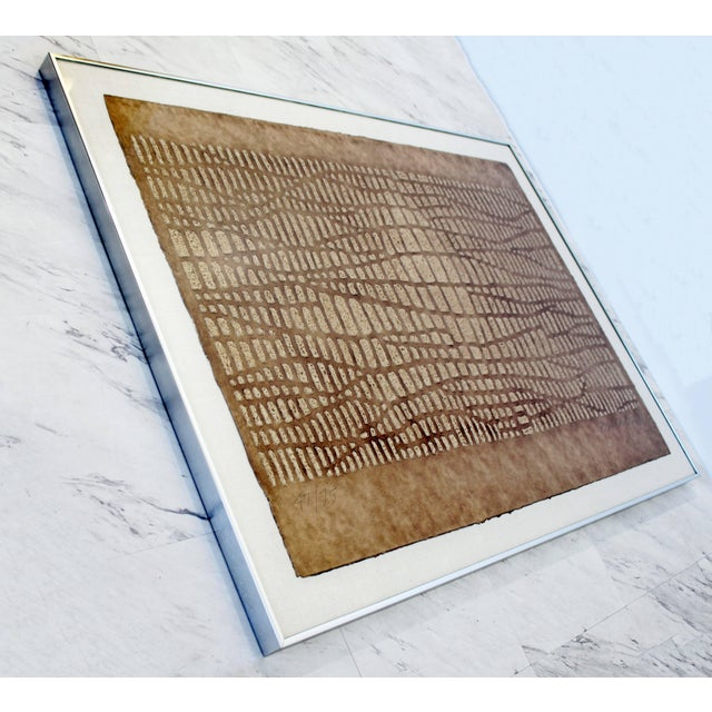 Mid-Century Modern Mid-Century Modern Framed Textured Paul Maxwell Lithograph For Sale - Image 3 of 7