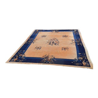 "Antique 1930s Chinese Art Deco Rug - 8'11"" X 11'5"" For Sale"