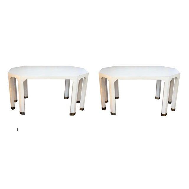 Mid-Century Cream Octagon Shaped Side Tables - a Pair For Sale - Image 10 of 10