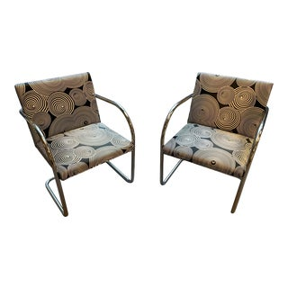 Versace-Designed Custom Miles Van Der Rohe Tubular Brno Chairs by Knoll- A Pair For Sale