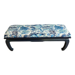 Blue and White Chinoiserie Ming Style Bench For Sale