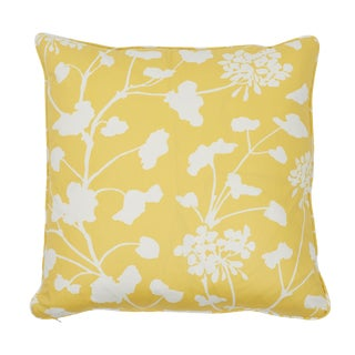 Contemporary Schumacher Pennick Chintz Pillow in Yellow For Sale