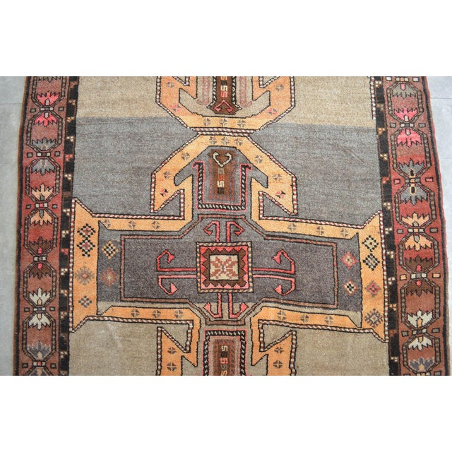 1950s 6x11 Kilim Rug Kurdish Runner Hand Knotted Full Tribal Design Area Rug - 6′3″ X 11′4″ For Sale - Image 5 of 7