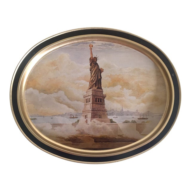 "Vintage 1985 "" Statue of Liberty "" Collector's Limited Edition Lithograph Sunshine Biscuit Oval Tin Serving Tray For Sale"