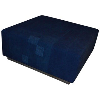 Ottoman Coffee Table Upholstered in Linen Dyed Indigo, France, Circa 1860 For Sale