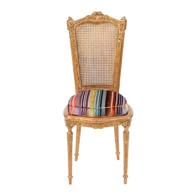 19th C. French Giltwood Side Chair With Donghia Stripped Silk Velvet For Sale - Image 10 of 10