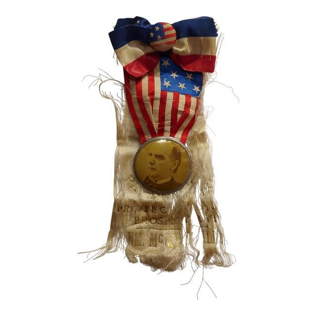 William McKinley 1896 Us Presidential Campaign Lapel Button W/Ribbon For Sale