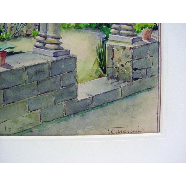 Art Nouveau Courtyard Garden Watercolor Painting For Sale - Image 3 of 4