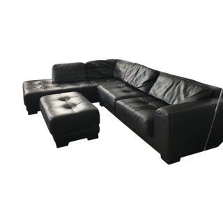 Roche-Bobois Leather Sectional & Ottoman