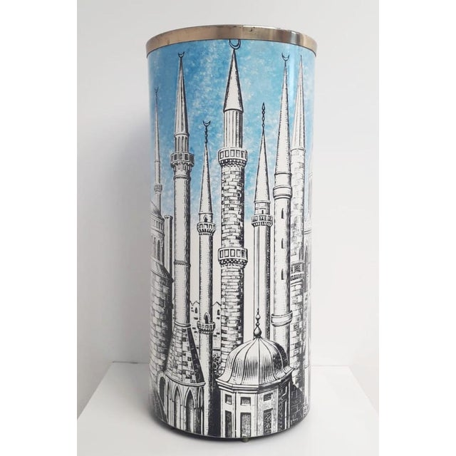 Italian umbrella stand made of printed steel and brass, by Fornasetti / Made in Italy in 1950s Original mark on the base...