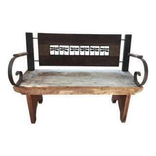 Antique Wood & Iron Brazilian Bench