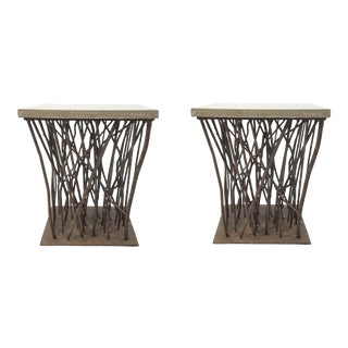 Organic Modern Currey & Co. Rebar Side Tables/Bunching Tables Pair Prototypes For Sale