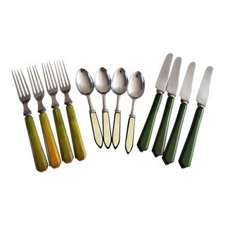 Vintage Mid-Century Bakelite Flatware 12 Pcs For Sale