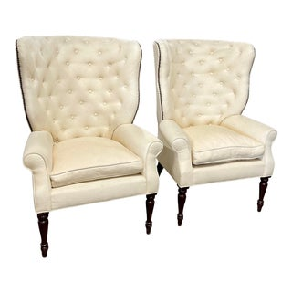 Barclay Butera Tufted Wingback Chairs - a Pair For Sale