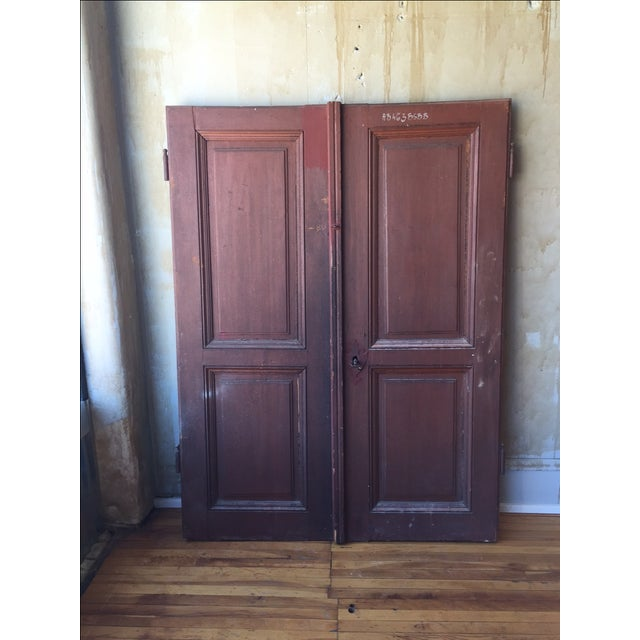 These antique cellar doors were originally from the Piedmont region in Italy. These doors are a bit shorter than standard...