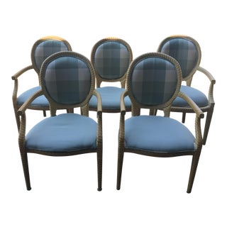 1980s Vintage Silk Upholstery Faux Bois Arm Chairs- Set of 5 For Sale