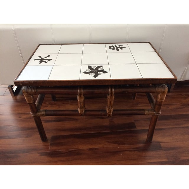 Ficks Reed Mid Century Bamboo & Tile Table - Image 9 of 9