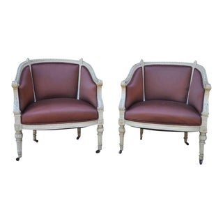 1900s Vintage French Louis XVI Style Petite Cream Painted Chairs Bergere Armchairs- A Pair For Sale