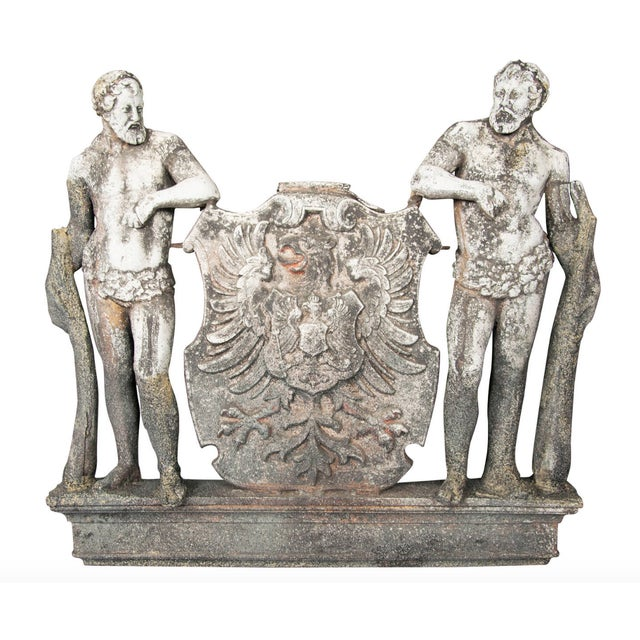 Baroque Cast Zinc Crest Bearing the Arms of the German Empire With Two Herculean Figures For Sale - Image 3 of 3