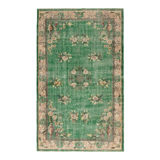 """1990s Vintage Emerald Green Chinoiserie Hand-Knotted Rug 5'9"""" X 9'7"""" For Sale"""