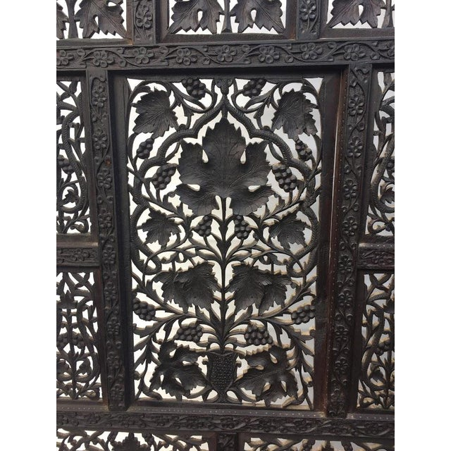 4-Panel East Indian Hand Carved Wood Screen Divider For Sale - Image 6 of 13