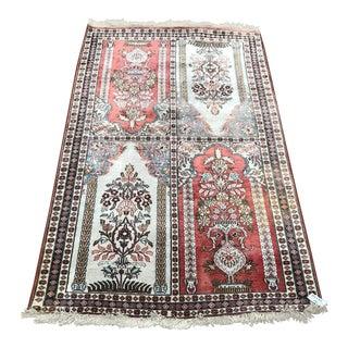 1970s Vintage Silk Mihrab Design Rug - 3′1″ × 4′11″ For Sale