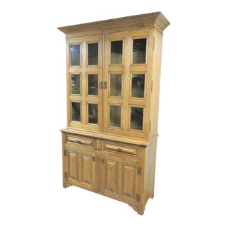 Jonathan Charles Oak Stepback China Cabinet For Sale