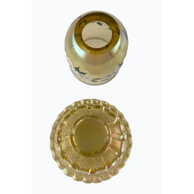 Beautiful Fenton Topaz Fairy Light Hand Painted and Signed by S. Allman in a Golden Yellow Iridescent!