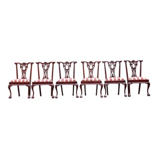 1970s Vintage Chippendale Mahogany Victorian Era Chairs- Set of 6 For Sale