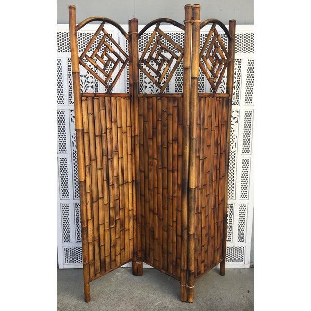Late 20th Century Vintage Late 20th Century Rattan Dressing Screen Room Divider With Fretwork For Sale - Image 5 of 5