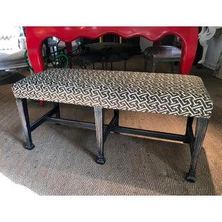 Ebonized Regency Style Bench in David Hicks Geometric Linen Preview