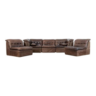 1970s Brown Leather Sofa Set - 5 Pieces For Sale