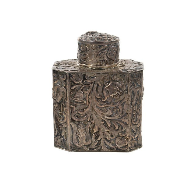 "19th century Beautiful Antique Silver Repousse Tea Caddy size 4 x 5"" A beautiful piece that will add to your décor!"
