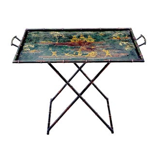 Chinoiserie Faux Bamboo Painted Tole Tray Table For Sale