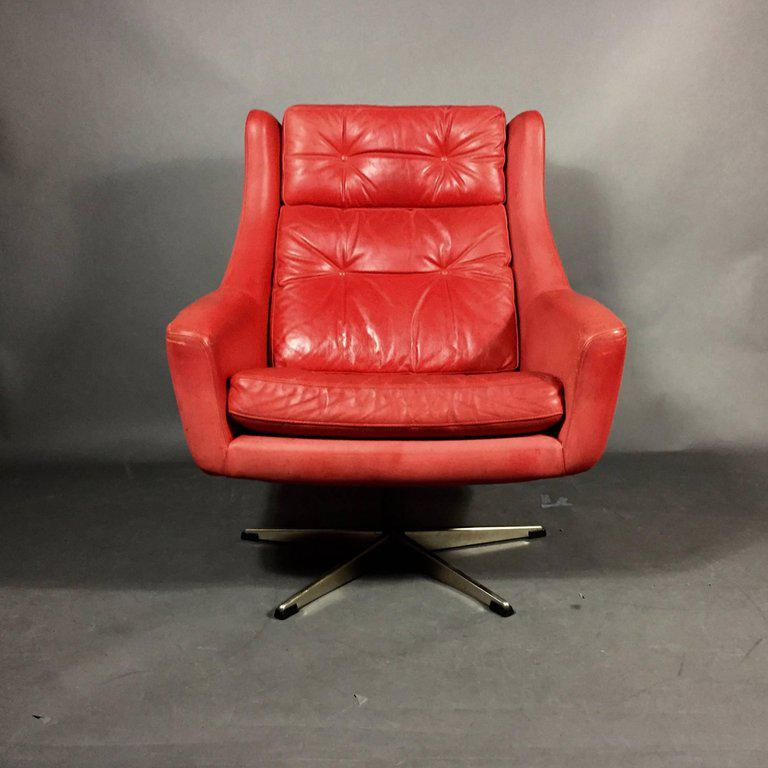 Danish Red Leather Swivel Chair And Ottoman, Circa 1970   Image 8 Of 9