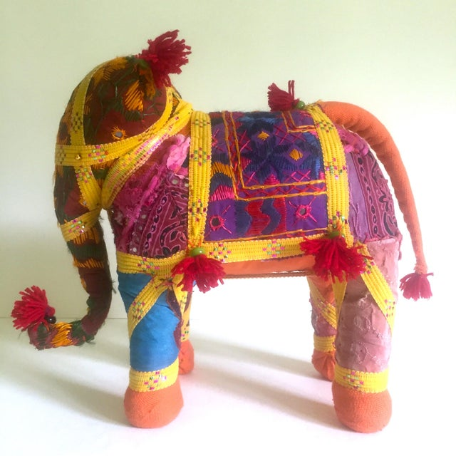 This vintage large Indian Handmade multicolor fabric patchwork Indian elephant figurine is a very special and unique piece...