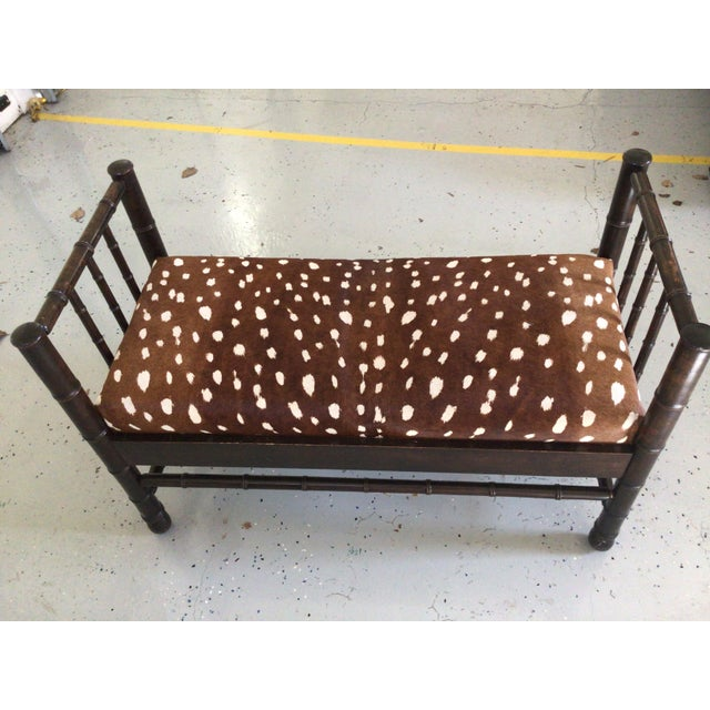 Stunning antique English Bench . Newly recovered in Hair on Hide in gorgeous Antelope animal design of cocoa brown and...