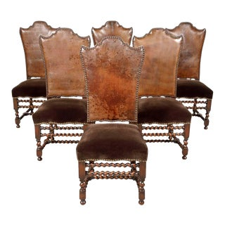 19th Century French Louis XIII Style Leather and Mohair Barley Twist Side Chairs- Set of 6 For Sale