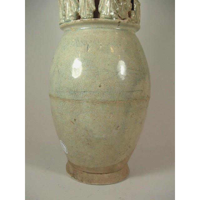 Tall Song Dynasty Molded Yingqing Porcelain Funerary Urn For Sale - Image 4 of 10
