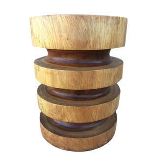 Asian Modern Style Natural Wood Ring Stool/End Table