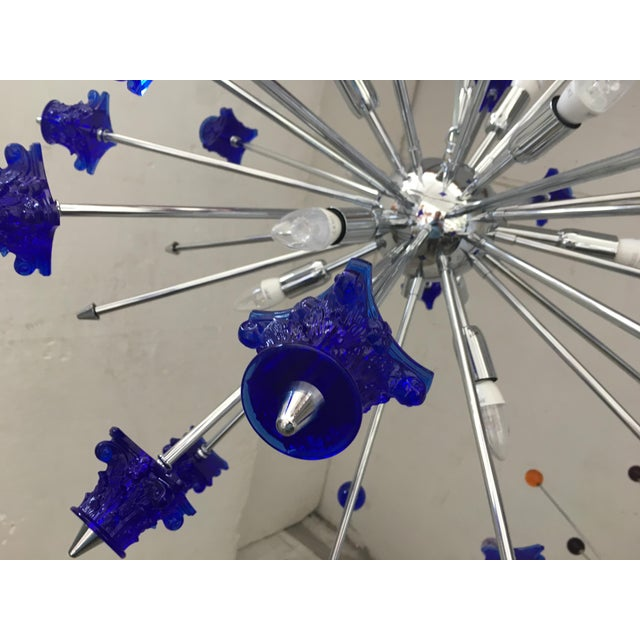 Murano Blue Crystal Glass and Chrome Sputnik Chandelier For Sale - Image 4 of 13