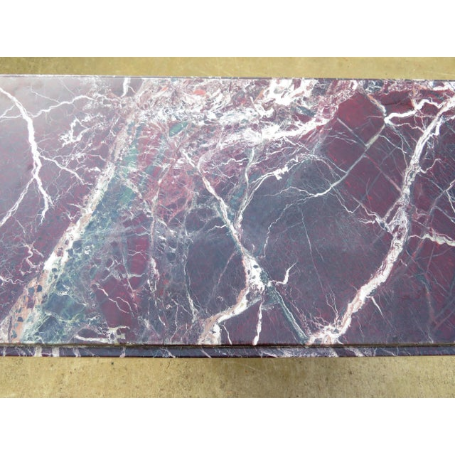 Red 20th Century Hollywood Regency Variegated Marble Pedestal Console or Entryway Table For Sale - Image 8 of 13