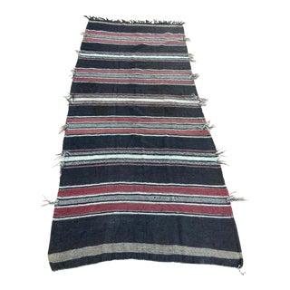 Moroccan Vintage Flat-Weave Black Camel Hair Tribal Rug For Sale