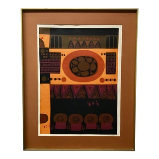 Mid Century Abstract Silkscreen Le 2/200, Signed & Framed For Sale