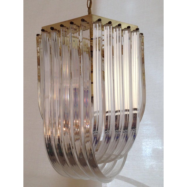 1970s Italian Lucite & Brass Ribbon Chandelier - Image 2 of 6