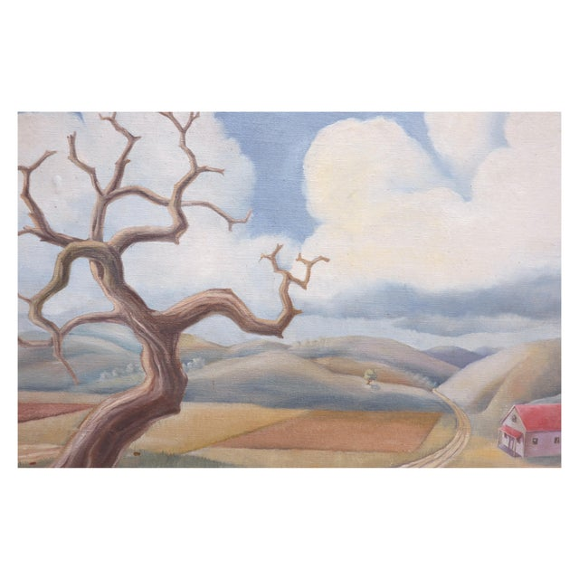 "Beautiful countryside landscape by New York artist Robert Fabian Butts (American, 1919-2008). Signed ""R. Butts"" lower..."