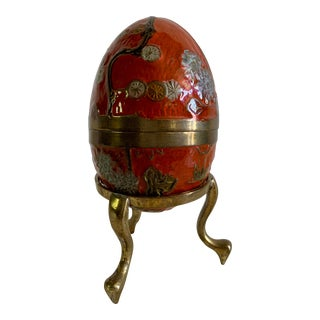 Vintage Mid-Century Brass Cloisonne Egg With Stand For Sale