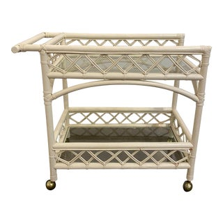 Mid-Century Modern Rattan Bar Cart For Sale